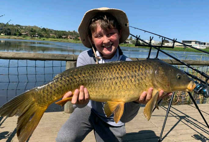 My brother caught his first big carp that he actually wanted to hold